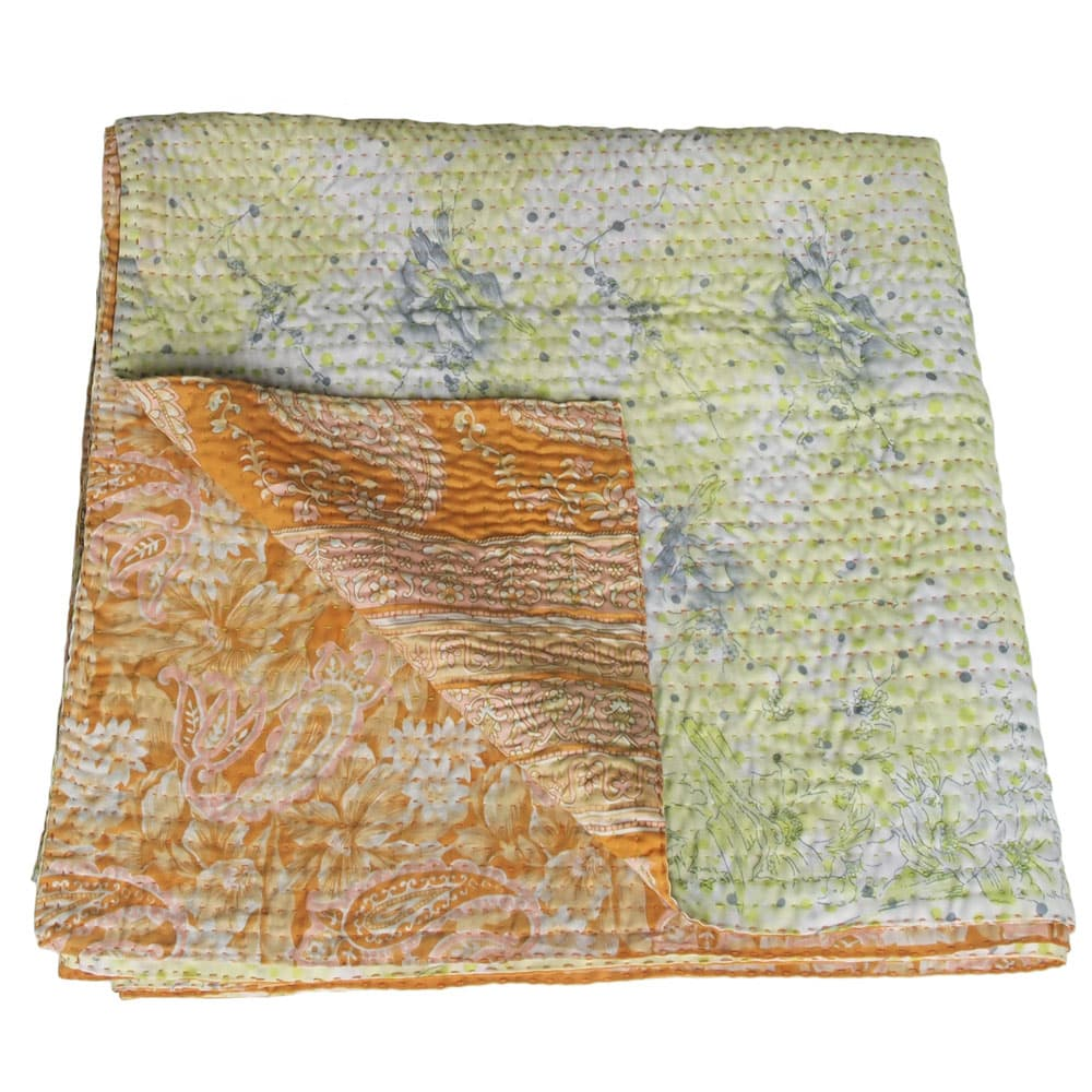 kantha silk sari blanket basanta ethical india