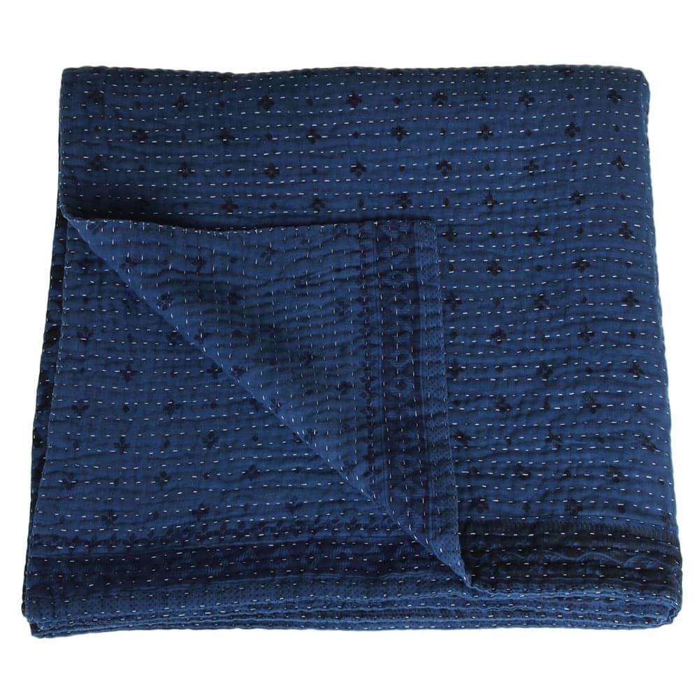 indigo kantha blanket blue