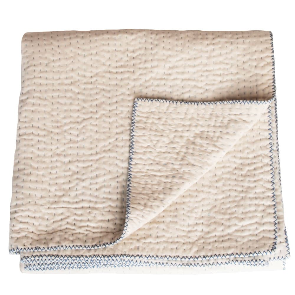 naturel kantha deken katoen