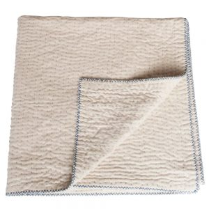 natural kantha throw unbleached cotton
