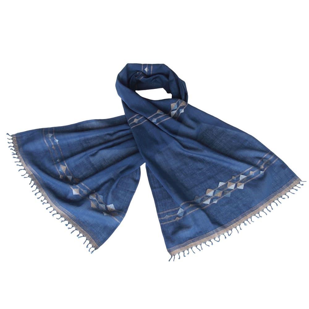 jamdani sjaal indigo donkerblauw