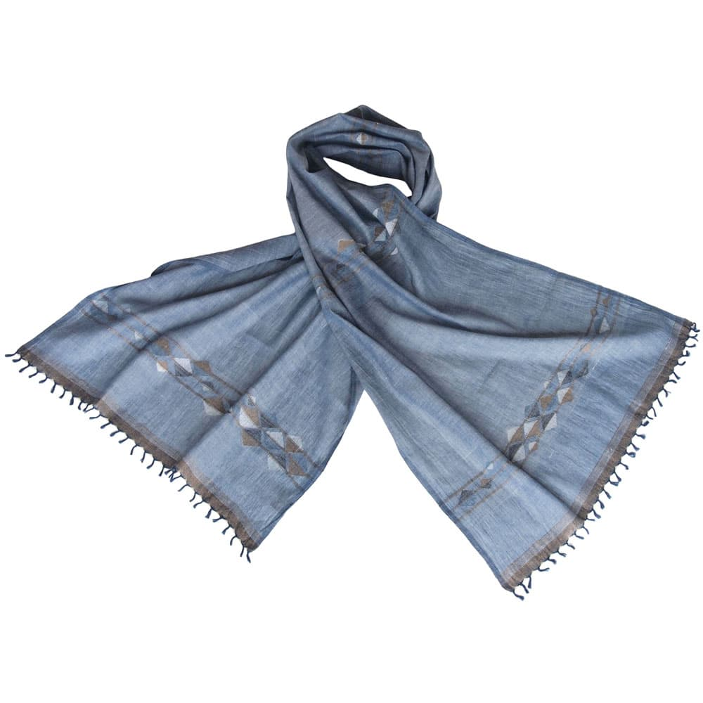 dhakai jamdani scarf indigo light blue