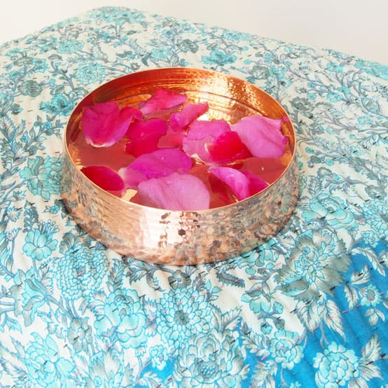 interior accessories copper bowl floating flowers