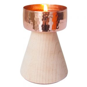 copper tea light holder wood twilight ethical india