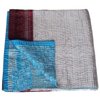 kantha sari bedspread rina blanket