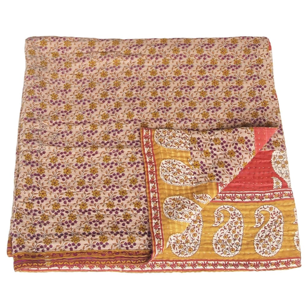 Kantha deken van katoenen sari's mini | upa from Tulsi Crafts