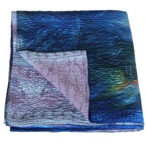 silk bedspread kantha ratri india