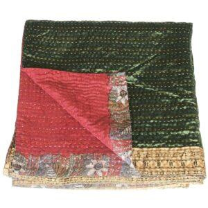 kantha sari sprei bristi groen
