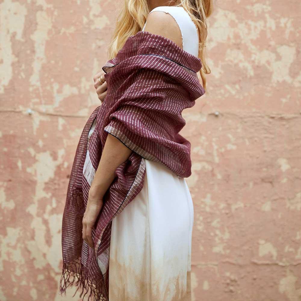 linnen zari sjaal plum luchtige sjaal