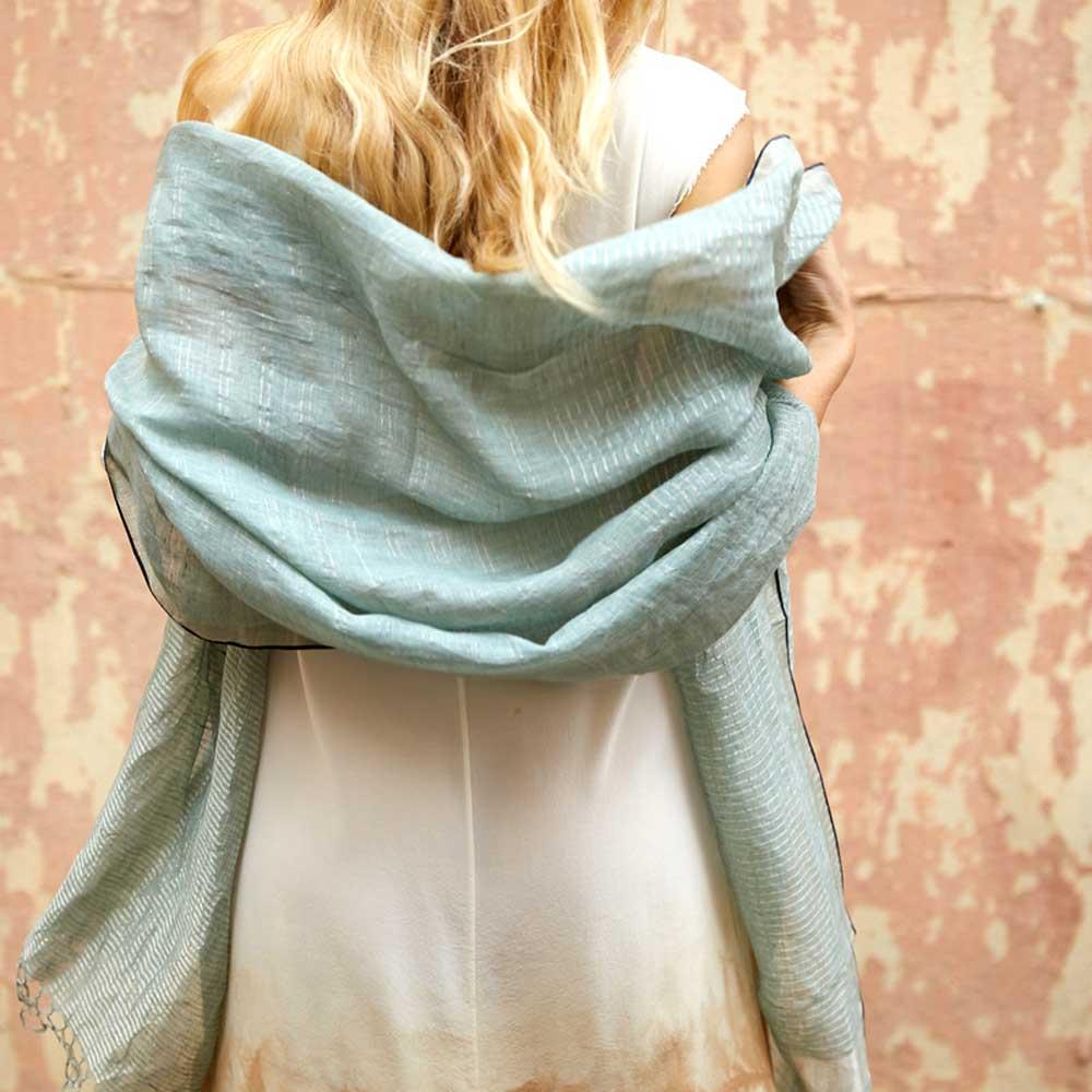 linnen zari sjaal zeeglas grote sjaal
